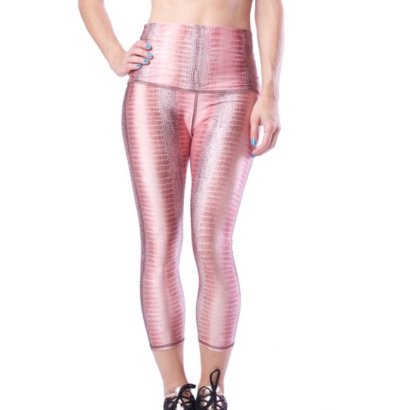 bce6c34183 Emily Hsu Designs Pants - Emily Hsu • Pink Aiyana Crocodile Capri Leggings